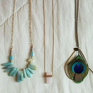 Jewelry - 3 Long Chain Bohemian Necklaces w/ Feather & Stone